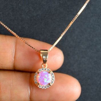 Pink Opal Necklace, Sterling Silver Halo Necklace, Rose Gold Bridal Necklace, October Birthstone Jewelry, Wedding Necklace, Cz Necklace