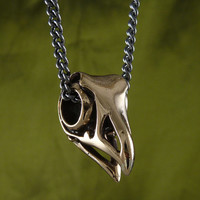 "Bird Skull Necklace Bronze Eagle Skull on 32"" Gunmetal Chain"