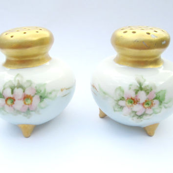 Vintage Antique Salt and Pepper Shakers Porcelain Hand Painted Flowers Gold Tops Bottoms Collectible