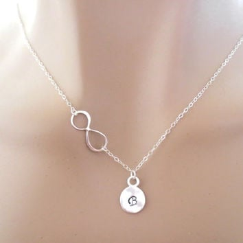 Infinity, Initial, Coin, Necklace, Infinity, Necklace, Sterlingsilver, Necklace, Bridesmaid, Necklace