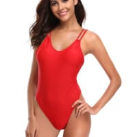 Summer new fashion solid color straps one piece bikini swimsuit Red
