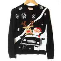 Rudolph and Santa In A Convertible Tacky Ugly Christmas Sweater