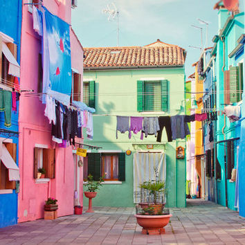Burano Photo, Colorful Art Print, Venice Photography, Street, Colorful Houses, Italy Wall Decor, Blue, Pink, Large Print, Fine Art Travel