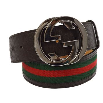 f025ad02e Authentic GUCCI Shelly Line Buckle Belt Brown Green Leather Vintage M13264