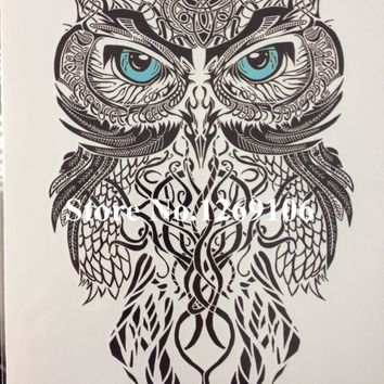 Tattoo Sticker Simple Blue Eye OWL  21 X 15 CM Temporary  Waterproof