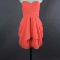 Coral Prom Dress 2013, A-line Sweetheart Mini Chiffon Prom dress