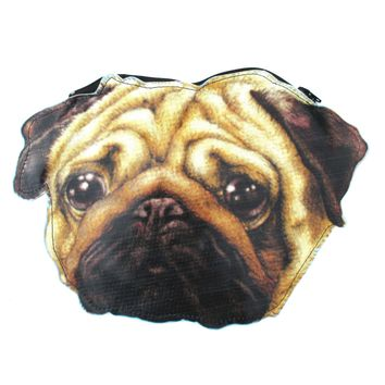 Realistic Pug Puppy Dog Head Shaped Vinyl Animal Digital Print Clutch Bag | DOTOLY
