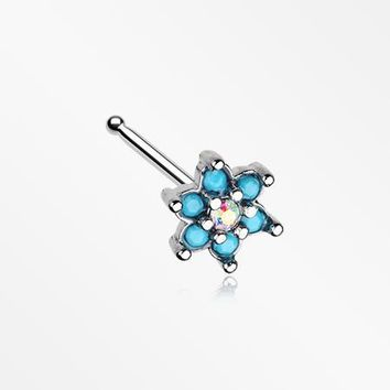 Spring Flower Turquoise Sparkle Nose Stud Ring