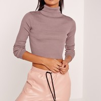 Missguided - Basic Roll Neck Long Sleeve Crop Jumper Purple