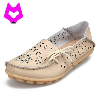 Plus Size 2017 Ballet Summer Cut Out Women Genuine Leather Shoes Woman Flat Flexible R