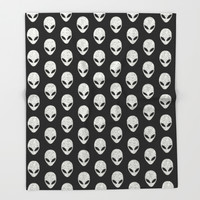 Glitter Grey Aliens Throw Blanket by Octavia Soldani | Society6