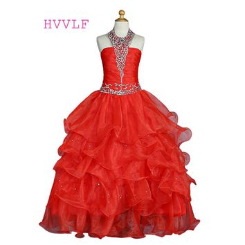 Red 2018 Girls Pageant Dresses Ball Gown Halter Organza Beaded Crystals Ruffles Flower Girl Dresses For Wedding For Little Girls