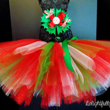 Christmas Tutu, Holiday Tutu, Tutu and Matching Hair bow, Red, Green and White Tutu