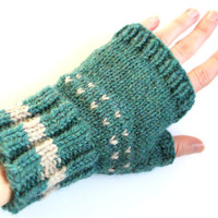 Blue green, fingerless mittens, knit fingerless gloves, gauntlets, hand warmers, wool mittens, mitts, gift idea