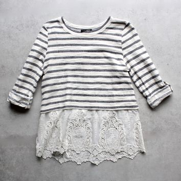 striped button-up back vintage lace hem womens sweater top