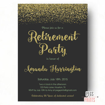 Retirement Party Invitation Gold Glitter and Mint - Retirement Party Invites - Farewell Party Invitation - PRINTABLE Farewell Invitation