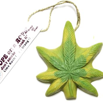 Lime Kush Dope on a Rope - Lime & Orange Pot Leaf shaped Soap on a Rope
