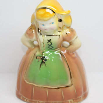 Dutch Girl Planter Figurine Coral Beige Pink Dress Green Apron Gold Trim