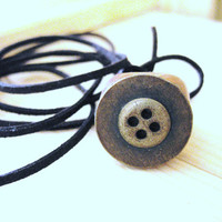 SALE  Wood Ring Necklace,copper button, gift for her