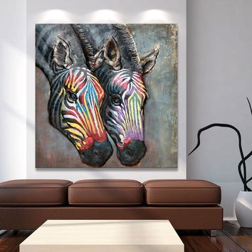 Modern Art Wall Painting Picture Abstract Zebra Print Canvas Home Decor / Living Room
