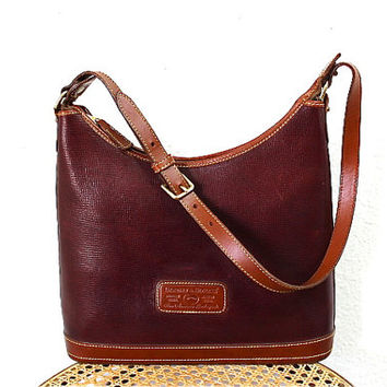 SALE Vintage Dooney and Bourke Pebble Genuine Leather and Tan Leather Trim Hobo Bag, Shoulder Bag