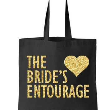 Gold Silver or your choice Glitter The Bride's Entourage Black Tote Bag - Bridesmaid, Bridal, Wedding, Bachelorette Party Gift
