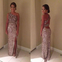 2015 One Shoulder Sequin Formal Evening Gown Leg Slit Prom Ball Party Dresses