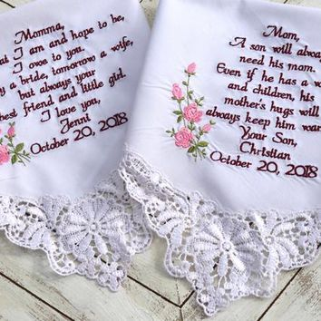 Mother of the bride, Mother of the Groom, wedding day card, Wedding Day gift, Embroidered Wedding Handkerchiefs, Wedding Gift, Set of two