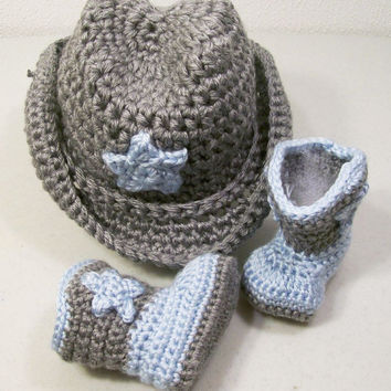 Western Hat and Boots -Baby Boy Cowboy Gift Set-Blue and Gray--Baby Shower Gift--#201