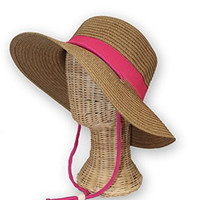 Amber (Pink Ribbon) - Women's Packable Outdoor Sun Hat with Adjustable Chin Strap