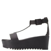 Black T-Strap Lug Sole Flatform Sandals by Charlotte Russe