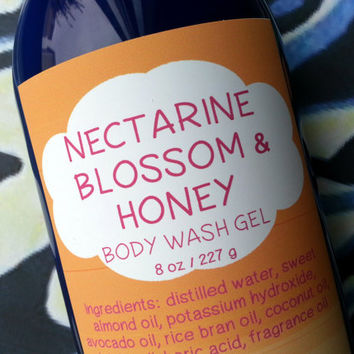 Nectarine Blossom and Honey Body Wash Gel ~ Shower Gel ~ Liquid Body Soap ~ Body Shampoo
