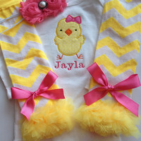 Baby Girl Easter Outfit - Spring Outfit - personalized Easter Outfit - baby photo prop - easter legwarmers
