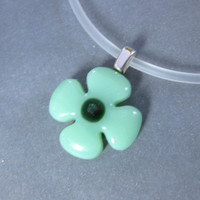 Flower Necklace, Green Necklace, Handcrafted Jewelry, Flower Jewelry - Evie - 4492 -1