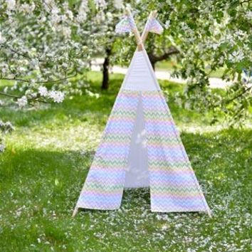 Teepee Tent in the Field Camping Printed Titanium Cloth Backdrop 5x6 - LCTC6721 - LAST CALL