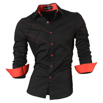 Long Sleeve Social Slim Fit Brand Cotton Western Button Shirt