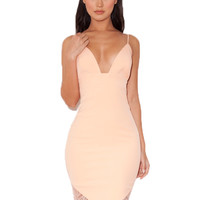 Clothing : Pencil Dresses : 'Oriana' Peach Lace Bralet Pencil Dress