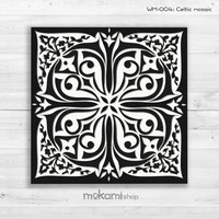 WHITE MOSAIC Canvas print, Celtic Mosaic, Mosaic Wall Decor, mosaic painting, Home Decor, Housewarming gift, 8x8 Ready to hang