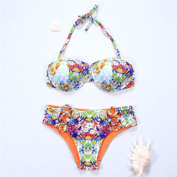 Summer Beach Sexy Hot Swimsuit New Arrival Print High Waist With Steel Wire Double Sided Bikini [511108481078]
