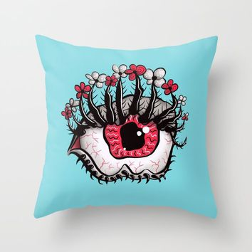 Eye Melt - Weird Red Eye With Flower Eyelashes Throw Pillow by borianagiormova