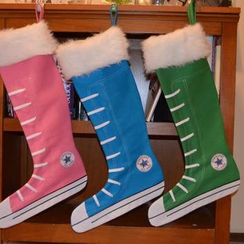 Large Personalized Canvas Converse Stocking - Handmade