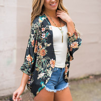 Its No Secret Dolman Sleeve Floral Silky Kimono (Black)