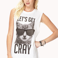 FOREVER 21 Let's Get Cray Muscle Tee White/Black