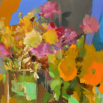 Colorful Painting Floral, Contemporary Still Life Painting Oil on Canvas by Yuri Pysar