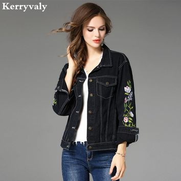 Autumn Floral Embroidered Jeans Jacket Womens Denim Coat Chaquetas Mujer Primavera 2018 Bomber Loose Black Denim Jacket K708360