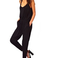 Purpura Erizo Womens Jumpsuit With Cami Straps High Waist,Black,Medium