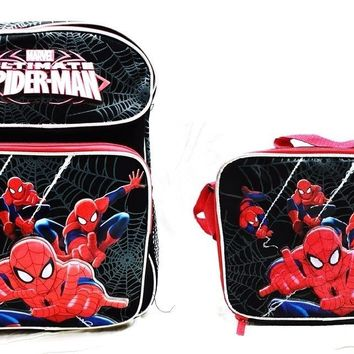 "Marvel Ultimate Spiderman Boys 14"" Canvas Black School Backpack w/Lunch Bag"