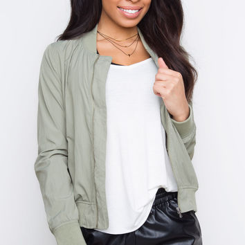 Face To Face Bomber Jacket - Sage