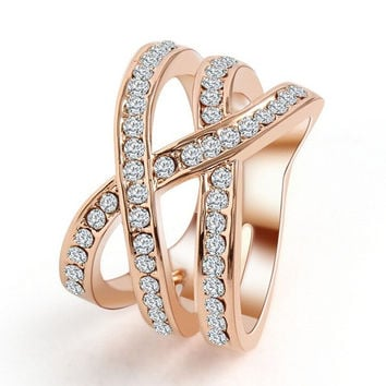 White 6 Fashion Style Zircon CZ Engagement 18K Gold Plated Wedding Finger Rings For Women Austrian Crystal Size 6,7,8,9 Free Shipping