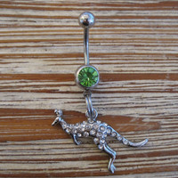 Belly Button Ring - Body Jewelry - Silver Rhinestone Kangaroo with Lt. Green Gem Stone Belly Button Ring